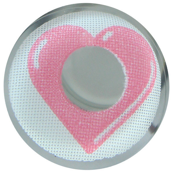 DUEBA COSPLAY LENS PINK HEART EYES WHITE HALLOWEEN CONTACT LENS