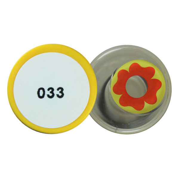 DUEBA COSPLAY LENS RED FLOWER YELLOW HALLOWEEN CONTACT LENS
