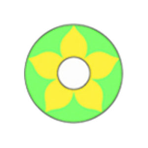 DUEBA COSPLAY LENS YELLOW FLOWER GREEN HALLOWEEN CONTACT LENS