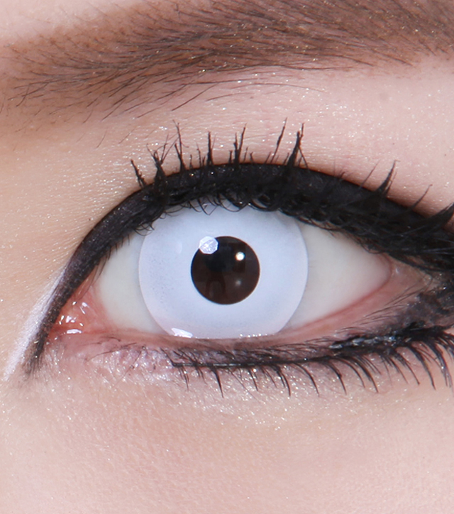 Geo Cp F1 Crazy Lens Pure White Halloween Contact Lens