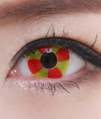 GEO CR-03 CRAZY LENS RED FLOWER YELLOW HALLOWEEN CONTACT LENS