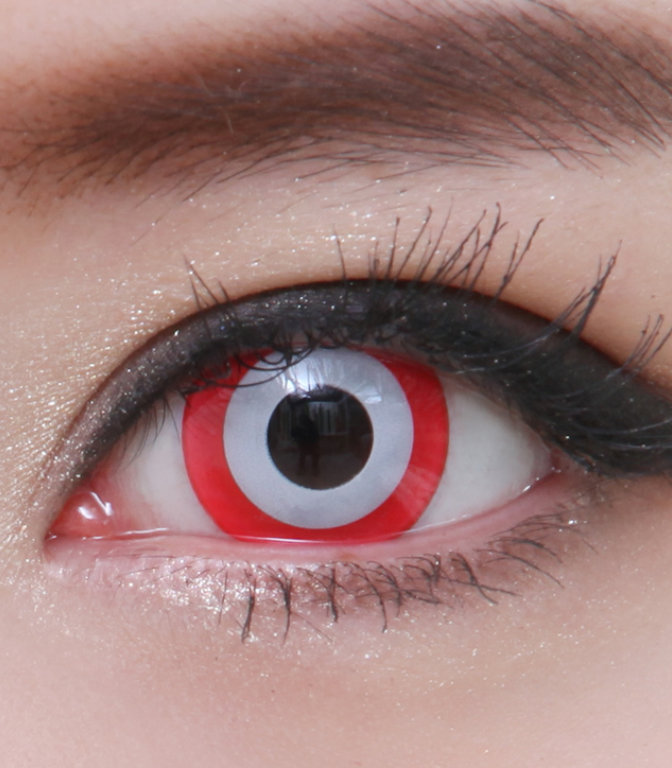 GEO SF-65 CRAZY LENS WHITE CONTACTS RED RIM HALLOWEEN CONTACT LENS ...