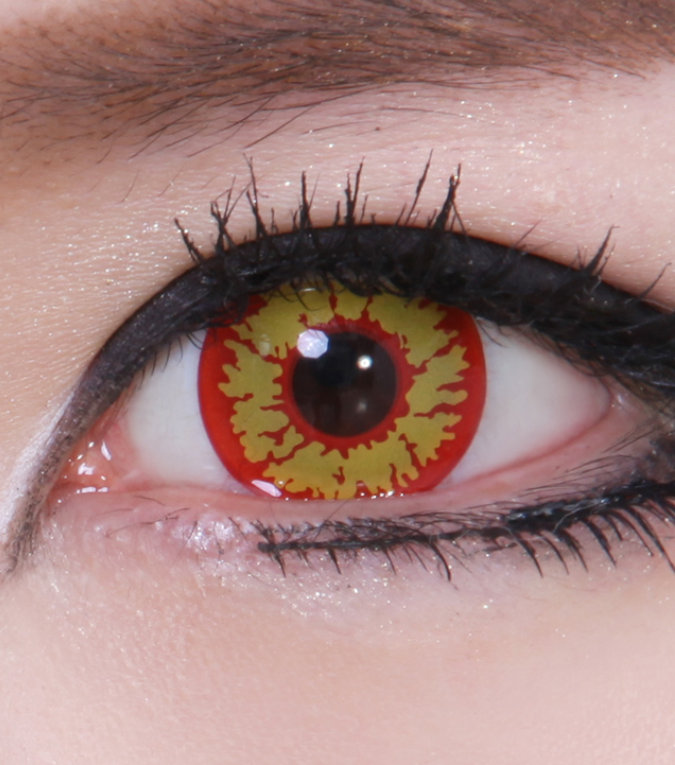 Geo Sf 74 Crazy Lens Devil Red Yellow Halloween Contact