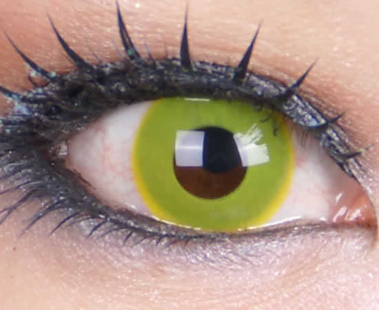 GEO CRAZY CONTACT LENS CP-F2 SOLID YELLOW COLORED CONTACT LENSES FOR HALLOWEENGE