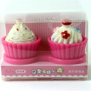 Cupcake Contact Lens Case Strawberry 3D